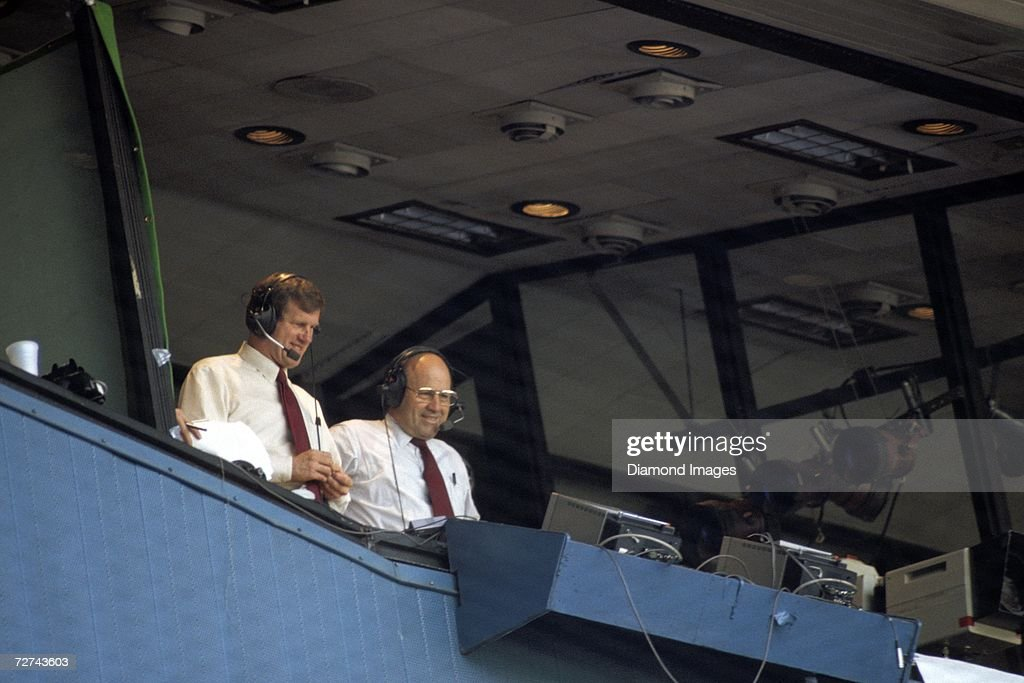 Television announcers Tony Kubek and Joe Garagiola of NBC during a game broadcast for NBC's 'Game of the Week' in 1982 at Yankee Stadium in New York, New York.