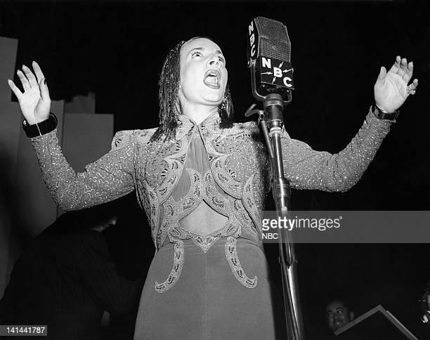 NBC RADIO 'Television Ball' Pictured Carmen Miranda performs at the Television Ball held at the Waldorf Astoria in New York City on December 15 1939...