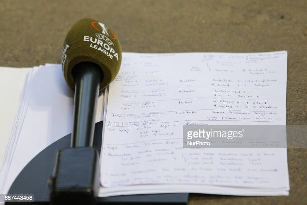 Television Broadcast microphones decorated in UEFA signage ahead of the UEFA Europa League Final between Ajax and Manchester United at Friends Arena...