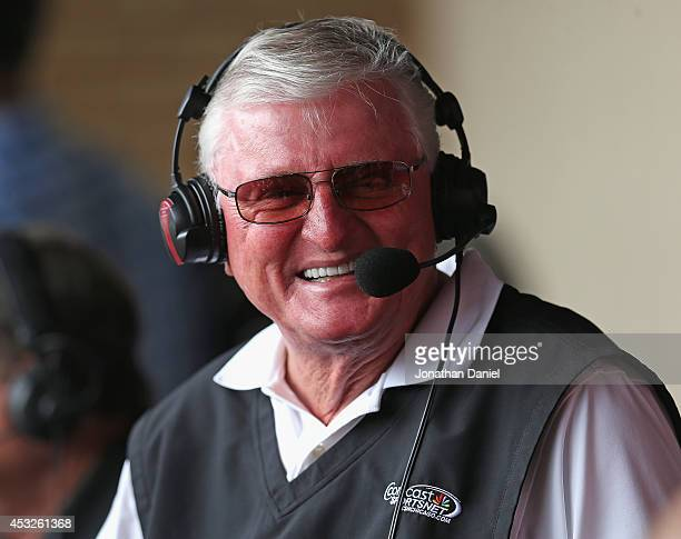 Television broadcaster Ken 'Hawk' Harrelson chats with fans during a break between innings as the Chicago White Sox take on the Texas Rangers at US...