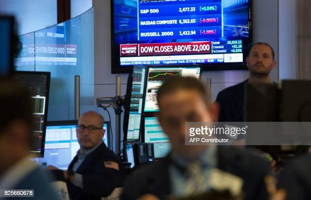 A television broadcasts that the Dow close above 22000 points after the closing bell of the Dow Jones Industrial Average at the New York Stock...