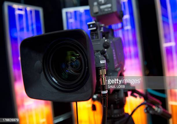 A television camera appears in a studio for the new Al Jazeera America nightly news program America Tonight at the Newseum in Washington DC August 16...