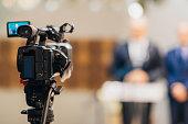 Television camera at a press conference