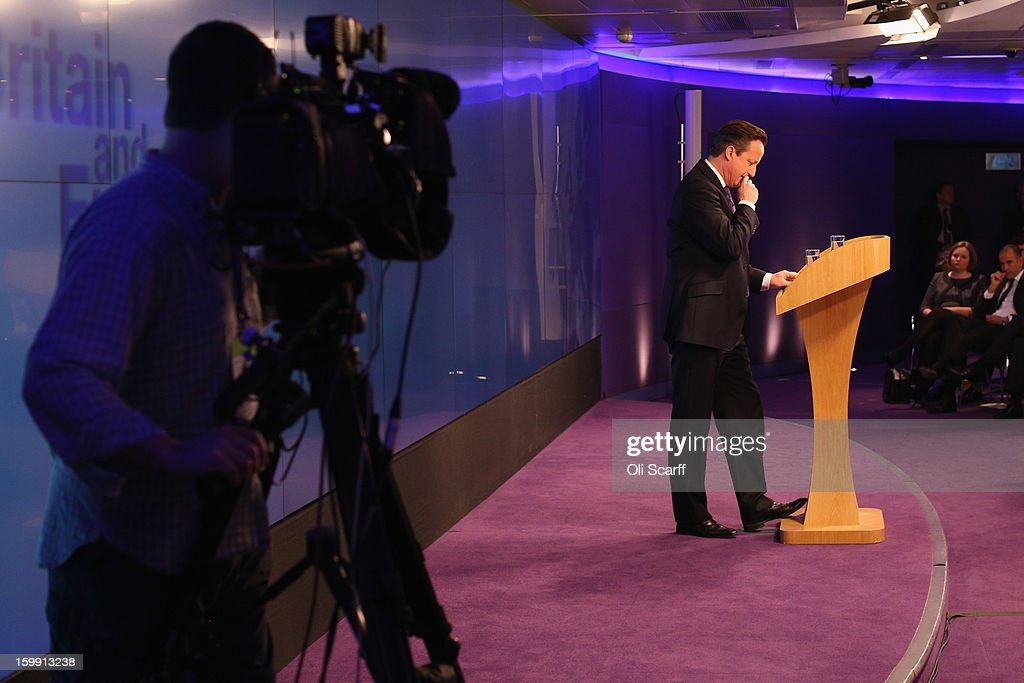 A television camera films British Prime Minister David Cameron delivering his long-awaited speech on the UK's relationship with the EU on January 23, 2013 in London, England. Mr Cameron has promised a referendum on EU membership should the Conservatives win the next election.