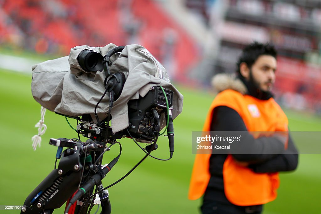 A television camera of sky television channel is seen during the Bundesliga match between Bayer Leverkusen and Hertha BSC Berlin at BayArena on April 30, 2016 in Leverkusen, Germany. The match between Leverkusen and Berlin ended 2-1.
