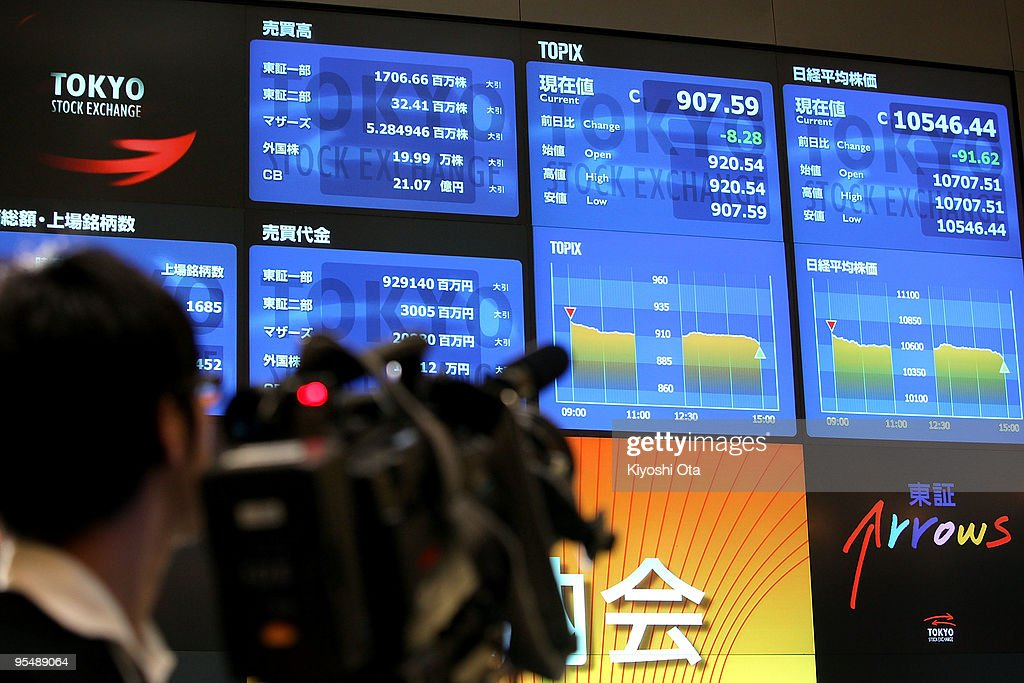 A television cameraman films an electronic board showing the closing price of the Nikkei Share Average on the last day of the year's trading at the...