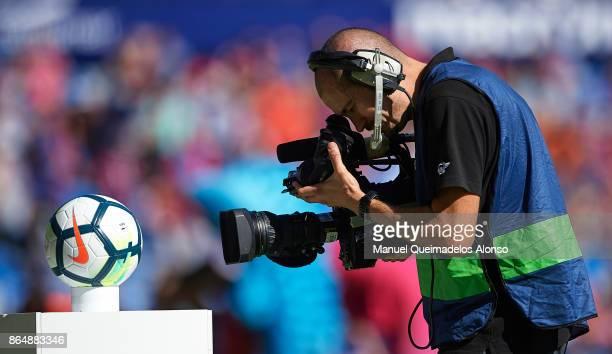 Television cameraman films the Nike Ordem La Liga match ball prior to the La Liga match between Levante and Getafe at Ciutat de Valencia Stadium on...