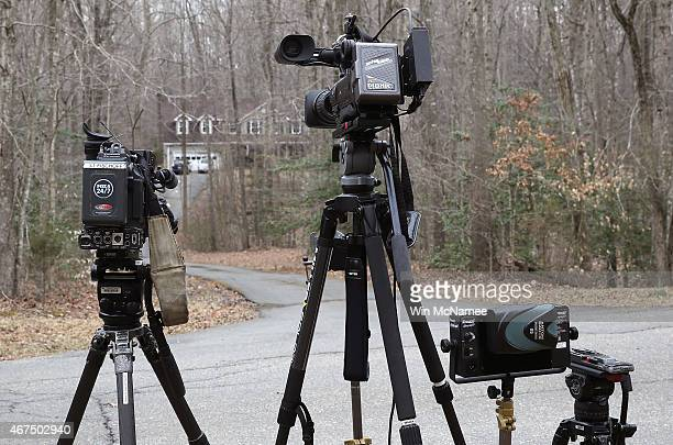 Television cameras set up outside the Selke family home March 25 2015 in Nokesville Virginia Yvonne and Emily Selke mother and daughter respectively...