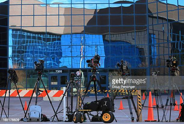 Television cameras sit ready outside the Arapahoe County Justice Center during a hearing on Aurora theater shooting suspect James Holmes on April 1...