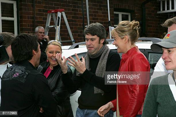 Television Chanel 9 CEO David Gyngell and his girlfriend reporter Leila McKinnon talking to show presentor Jaimie Durie at the auction of the two...