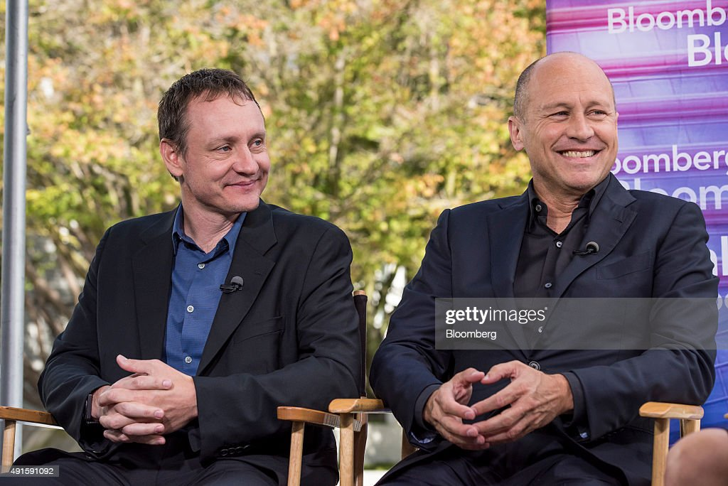 Television comedy writers and producers Mike Judge, right, and Alec Berg, react during a Bloomberg Television interview at the Vanity Fair 2015 New Establishment Summit in San Francisco, California, U.S., on Tuesday, Oct. 6, 2015. The summit assembles titans of technology, politics, business, and media for inventive programming and inspiring conversations around the ideas and innovations shaping the future. Photographer: David Paul Morris/Bloomberg via Getty Images