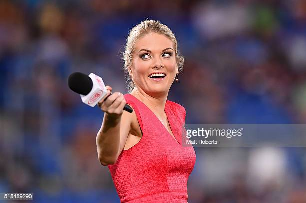 Television commentator Erin Molan looks on before the round five NRL match between the Gold Coast Titans and the Brisbane Broncos at Cbus Super...