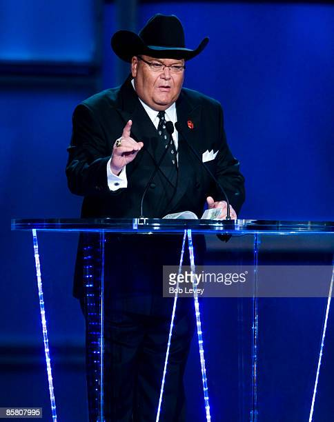 WWE television commentator Jim Ross attends the 25th Anniversary of WrestleMania's WWE Hall of Fame at the Toyota Center on April 4 2009 in Houston...