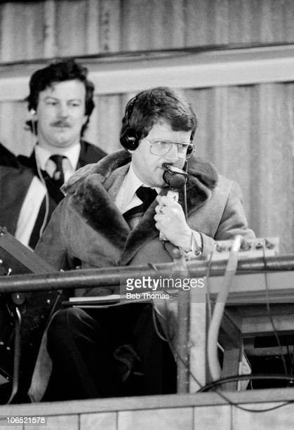 BBC television commentator John Motson during the Division One football match between Ipswich Town and Middlesbrough held at Portman Road Ipswich on...