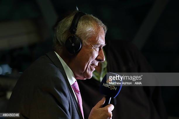 Television commentator Martin Tyler working for American Broadcaster NBC SN during the Barclays Premier League match between West Bromwich Albion and...