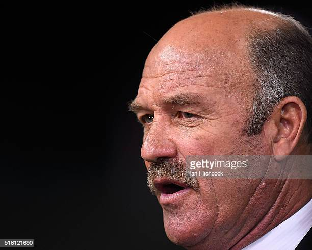Television commentator Wally Lewis looks on before the round three NRL match between the North Queensland Cowboys and the Sydney Roosters at...