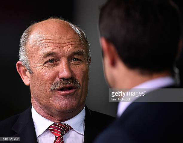 Television commentator Wally Lewis speaks to Brad Fittler before the round three NRL match between the North Queensland Cowboys and the Sydney...