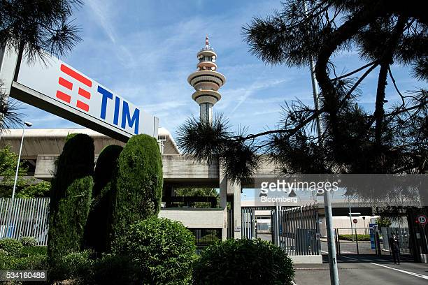 A television communications tower stands inside the headquarters of Telecom Italia SpA in Rozzano near Milan Italy on Wednesday May 25 2016 Telecom...