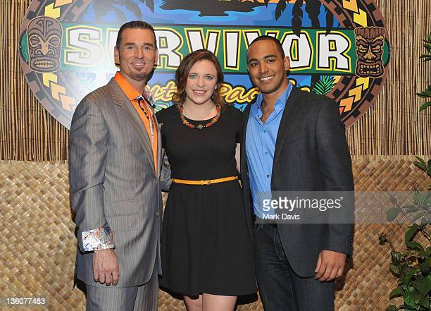 Television contestant Benjamin 'Coach' Wade contestant winner Sophie Clarke and television contestant Ozzy Lusth pose at the CBS' 'Survivor South...