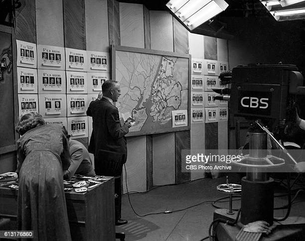 Television coverage of general and local election returns CBS News reporter Quincy Howe delivers results Picture Dated Tuesday November 2 1948 New...