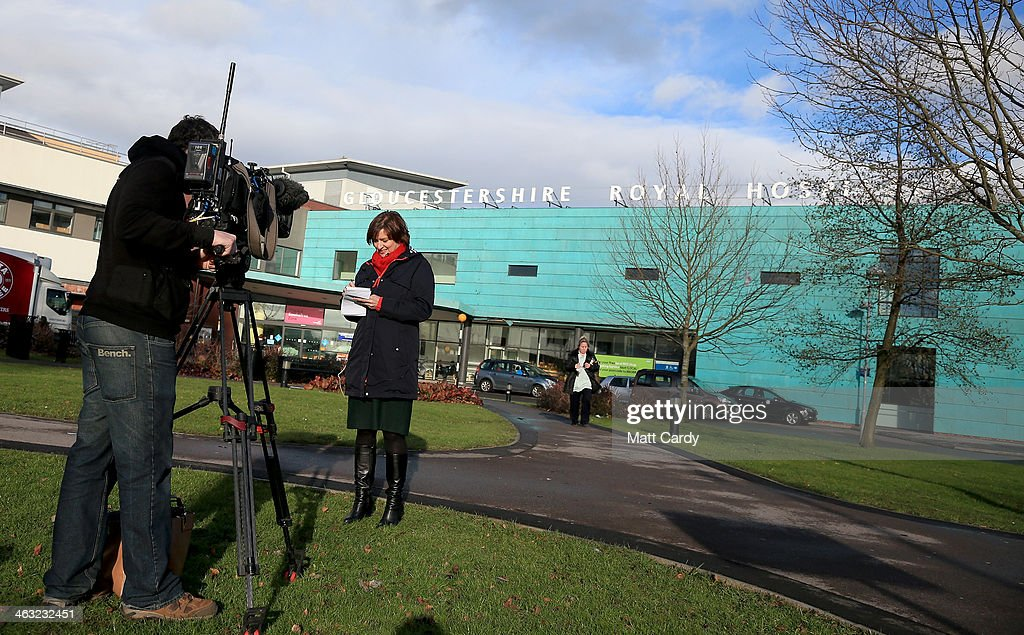 A television crew report from outside the Gloucestershire Royal Hospital on January 17, 2014 in Gloucester, England. The Queens granddaughter and Olympic silver-medalist Zara Phillips, who is married to former England rugby player Mike Tindall, gave birth to a baby girl - whose name is yet to be confirmed and weighed 7lbs 12oz - at the NHS hospital in the early hours of this morning.