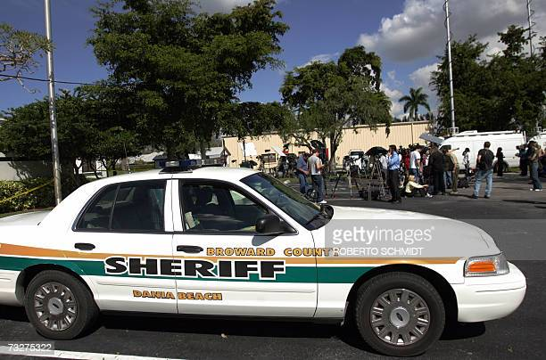 Television crews congregate outside of the Broward County Medical Examiners Office in Fort Lauderdale Florida 09 February 2007 one day after the body...