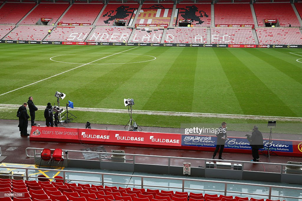 Television crews prepare at th pitch prior to the Barclays Premier League match between Sunderland and Manchester United at the Stadium of Light on February 13, 2016 in Sunderland, England.