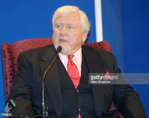 Television executive Merv Griffin speaks at the NAPTE convention January 21 2001 in Las Vegas NV