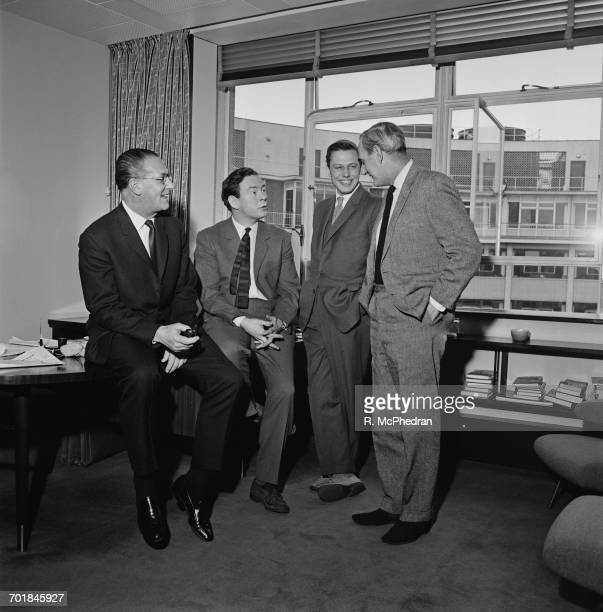 BBC television executives Kenneth Adam Michael Peacock David Attenborough and Huw Wheldon 5th March 1965 Attenborough has just taken over from...