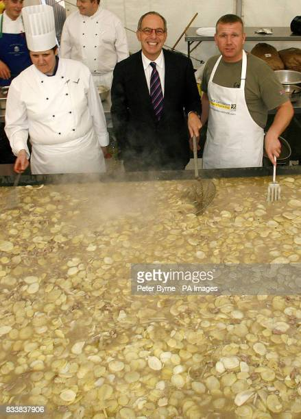 Television food critic Lord Loyd Grossman helps to dish out the world's biggest Lancashire Hotpot in Garstang Lancashire