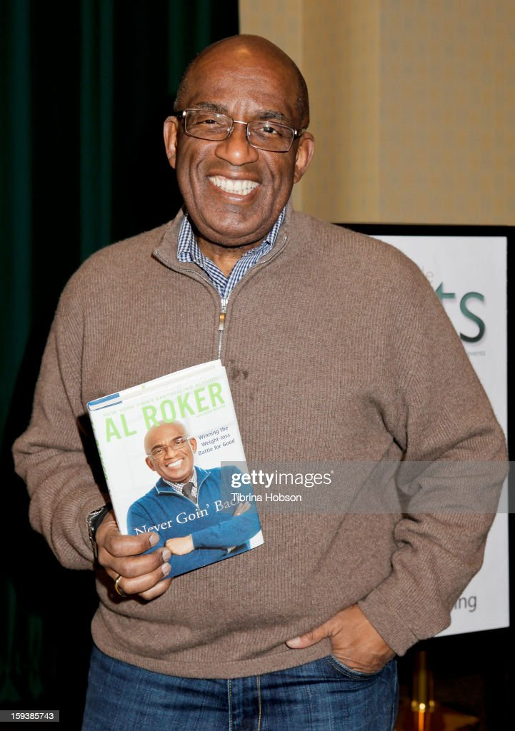 Television host <a gi-track='captionPersonalityLinkClicked' href=/galleries/search?phrase=Al+Roker&family=editorial&specificpeople=206153 ng-click='$event.stopPropagation()'>Al Roker</a> signs copies of his new book 'Never Goin' Back: Winning The Weight Loss Battle For Good' at Barnes & Noble Booksellers on January 12, 2013 in Glendale, California.