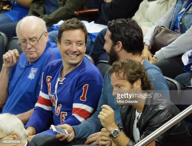 Television host and comedian Jimmy Fallon and professional baseball player Matt Harvey attends game 3 of the 2014 NHL Stanley Cup Final at Madison...