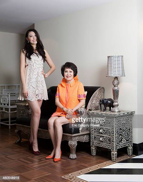 Television host and producerentrepreneur author and humanitarian YueSai Kan is photographed at her home with Miss China 2012 Xu Jidan on June 26 2013...