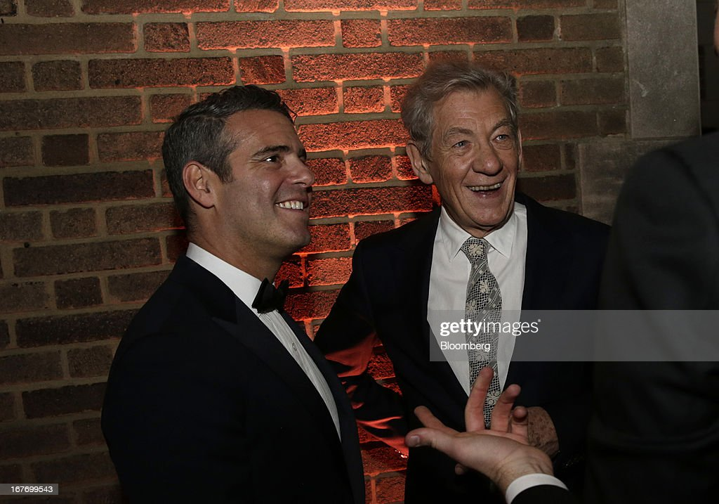 Television host Andy Cohen, left, and actor Ian McKellen attend the Bloomberg Vanity Fair White House Correspondents' Association (WHCA) dinner afterparty in Washington, D.C., U.S., on Saturday, April 27, 2013. The 99th annual dinner raises money for WHCA scholarships and honors the recipients of the organization's journalism awards. Photographer: Scott Eells/Bloomberg via Getty Images