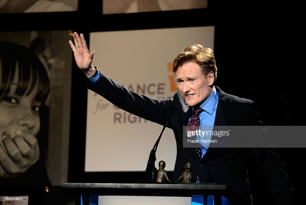Television Host <a gi-track='captionPersonalityLinkClicked' href=/galleries/search?phrase=Conan+O%27Brien&family=editorial&specificpeople=208095 ng-click='$event.stopPropagation()'>Conan O'Brien</a> attends The Alliance For Children's Rights' 21st Annual Dinner at The Beverly Hilton Hotel on March 7, 2013 in Beverly Hills, California.