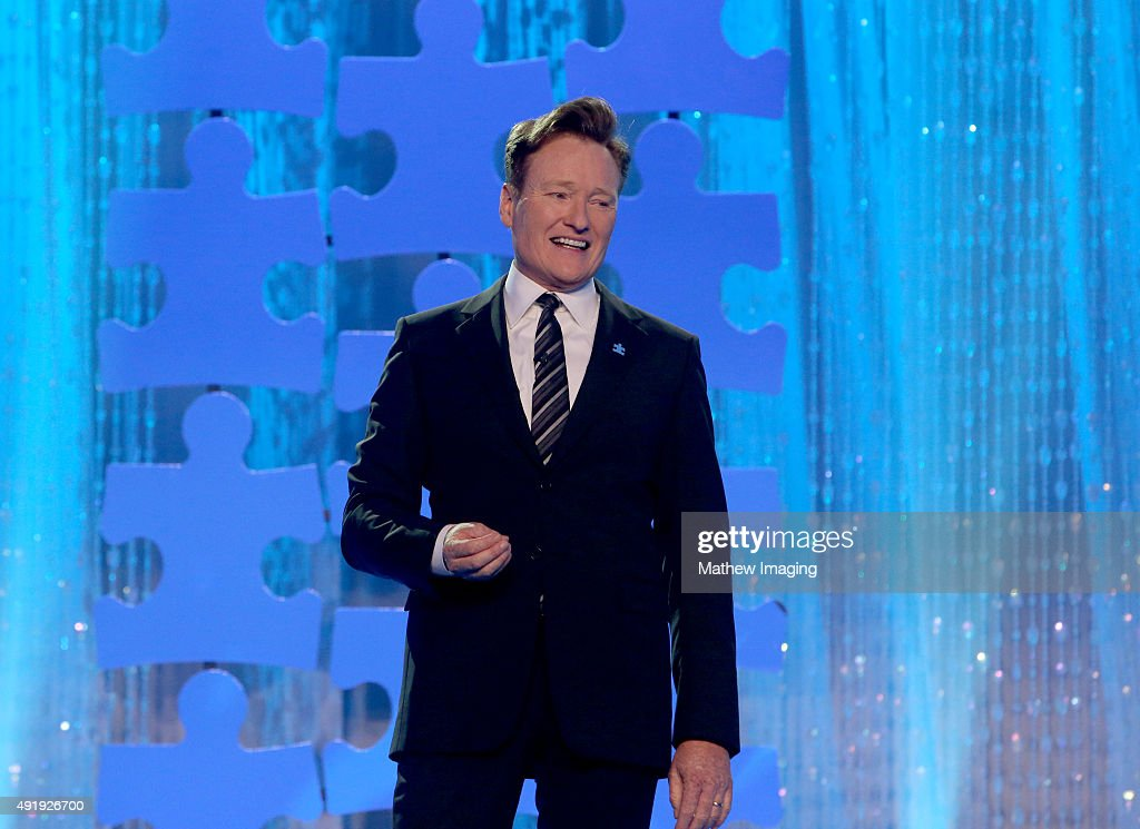 Television Host <a gi-track='captionPersonalityLinkClicked' href=/galleries/search?phrase=Conan+O%27Brien&family=editorial&specificpeople=208095 ng-click='$event.stopPropagation()'>Conan O'Brien</a> attends the Autism Speaks Celebrity Chef Gala at The Barker Hanger on October 8, 2015 in Santa Monica, California.