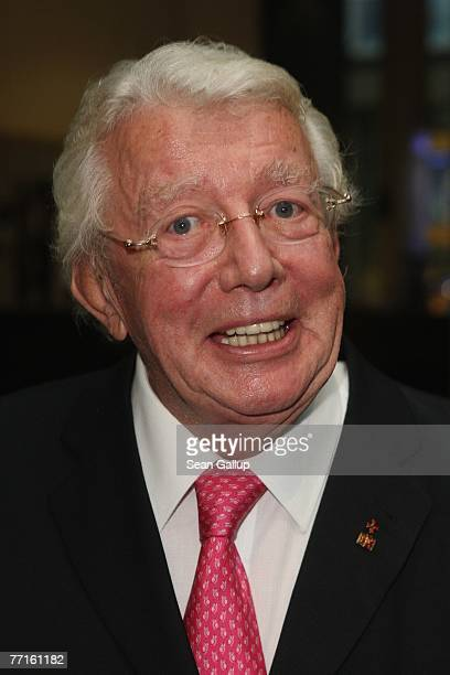 Television host Dieter Thomas Heck attends a ceremony to unveil a bust of former German Chancellor Helmut Kohl in the Axel Springer Passage October 2...