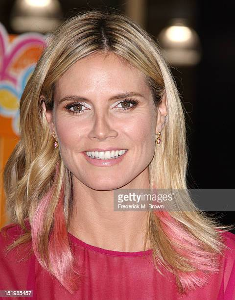 Television host Heidi Klum Debuts Her Truly Scrumptious Collection For Babies And Kids At Babies 'R' Us on September 14 2012 in Calabasas California