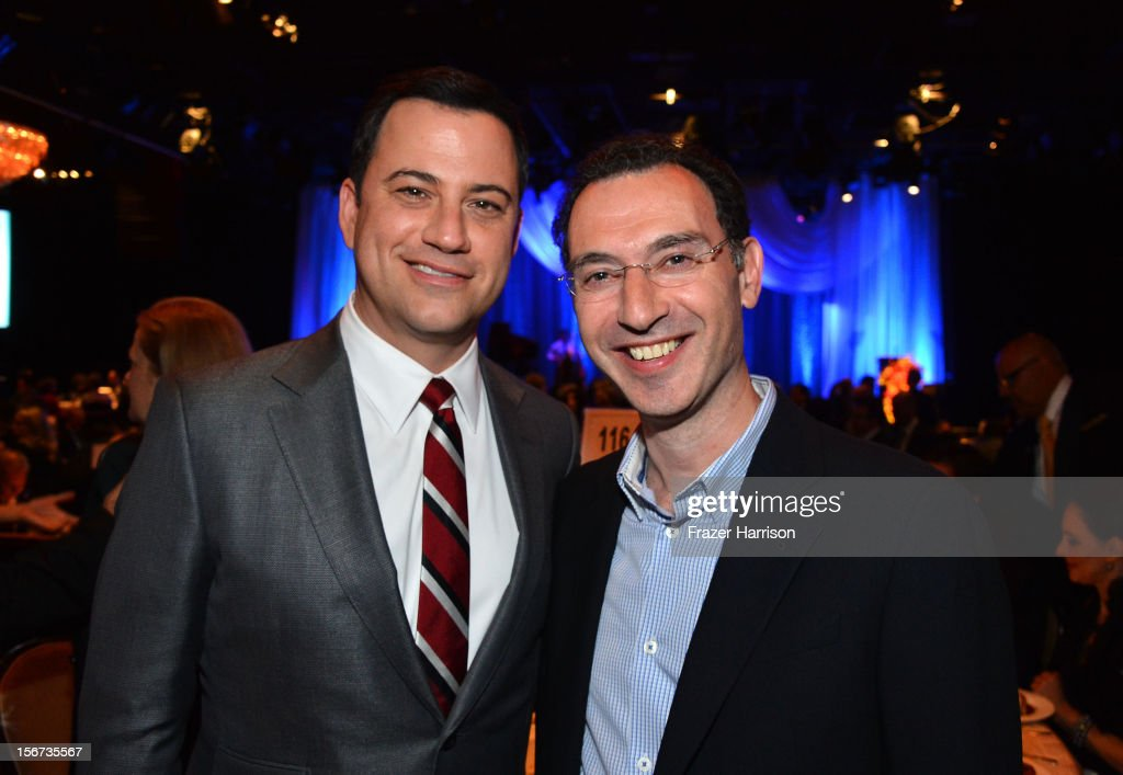 Television Host <a gi-track='captionPersonalityLinkClicked' href=/galleries/search?phrase=Jimmy+Kimmel&family=editorial&specificpeople=214115 ng-click='$event.stopPropagation()'>Jimmy Kimmel</a>l with ABC Entertainment Group President Paul Lee at The Saban Free Clinic's Gala Honoring ABC Entertainment Group President Paul Lee And Bob Broder at The Beverly Hilton Hotel on November 19, 2012 in Beverly Hills, California.