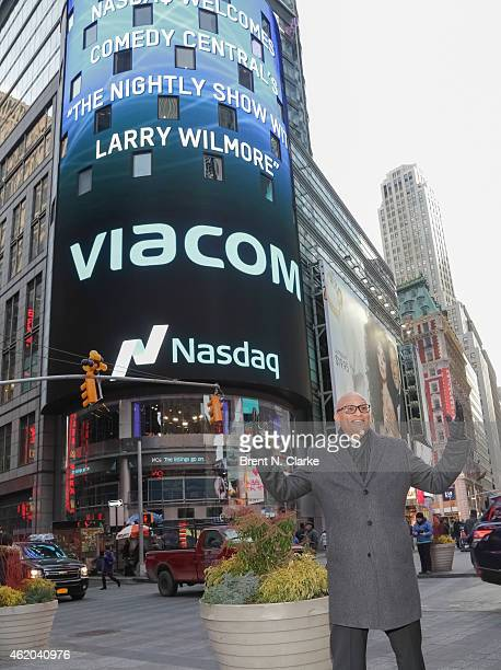 Television host Larry Wilmore attends Viacom Inc and Comedy Central's 'The Nightly Show with Larry Wilmore' ring the NASDAQ Stock Market Closing Bell...