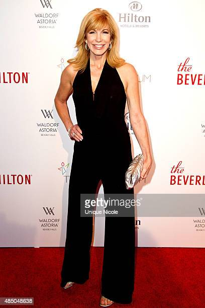 Television host Leeza Gibbons attends The Beverly Hilton celebrates 60 years with a diamond anniversary party at The Beverly Hilton Hotel on August...