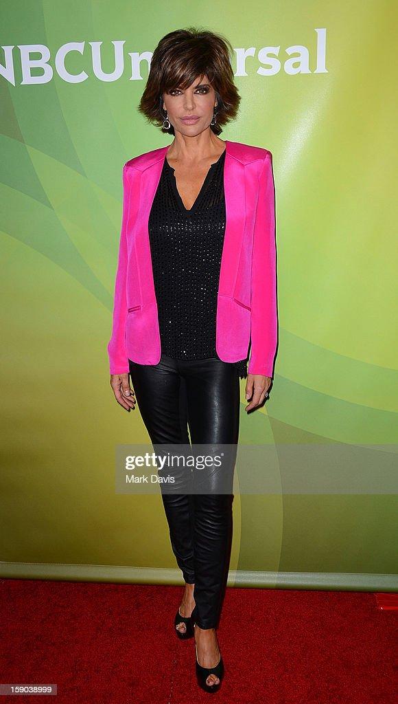 Television host Lisa Rinna poses at the 2013 TCA Winter Press Tour NBC Universal Day 1 at The Langham Huntington Hotel and Spa on January 6, 2013 in Pasadena, California.