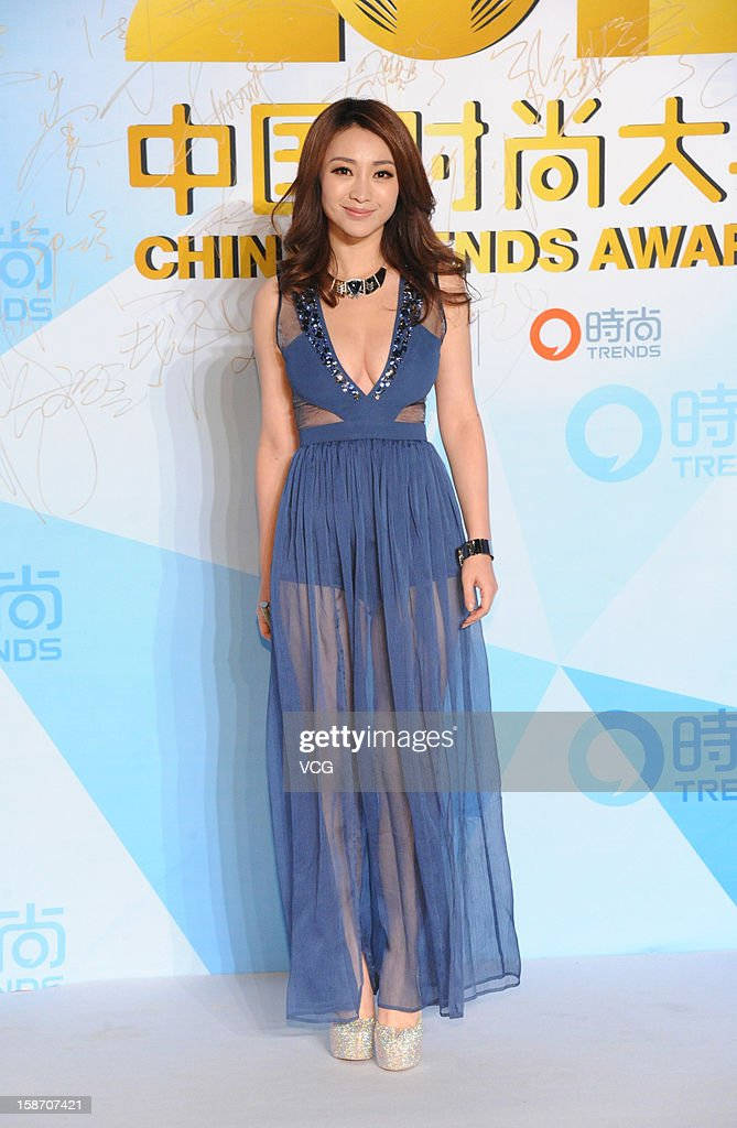 Television host Liu Yan arrives at the red carpet of the 2012 China Trends Awards at BTV Grand Theater on December 22, 2012 in Beijing, China.