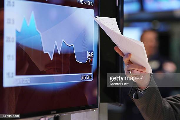 A television host points to a graph on a screen at the New York Stock Exchange on July 6 2012 in New York City The Labor Department's jobs report...