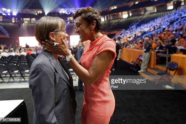 Television host Robin Roberts right embraces Stanford University women's basketball coach Tara VanDerveer left before a ceremony to celebrate the...