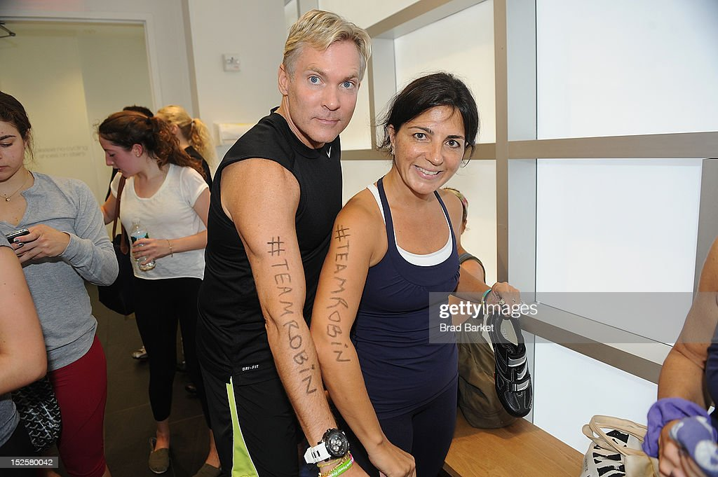 Television host Sam Champion and Barbara Fediza attend American Cancer Society & Young Friends Of The DreamBall SoulCycle Charity Ride at SoulCycle 1470 Third Ave on September 22, 2012 in New York City.