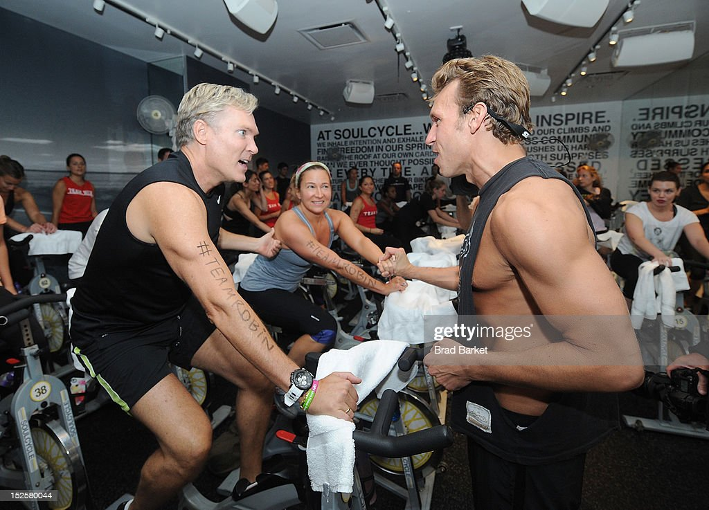 Television Host Sam Champion and Nick Oram attend American Cancer Society & Young Friends Of The DreamBall SoulCycle Charity Ride at SoulCycle 1470 Third Ave on September 22, 2012 in New York City.