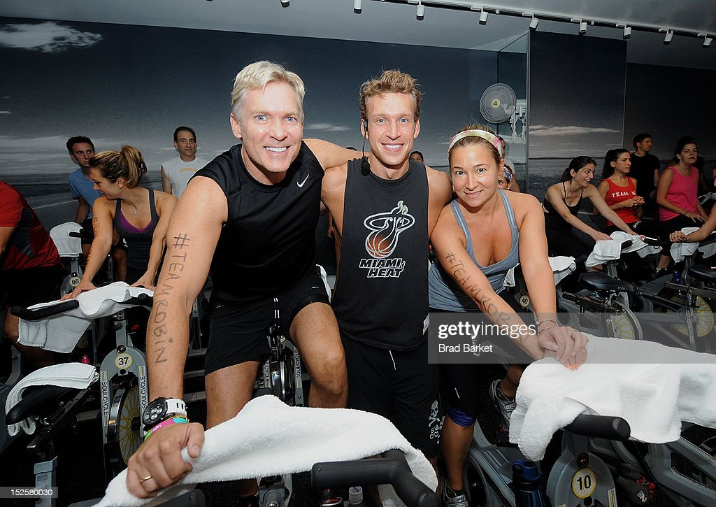 Television host <a gi-track='captionPersonalityLinkClicked' href=/galleries/search?phrase=Sam+Champion&family=editorial&specificpeople=724932 ng-click='$event.stopPropagation()'>Sam Champion</a>, Nick Oram, and Robyn Cerk attend American Cancer Society & Young Friends Of The DreamBall SoulCycle Charity Ride at SoulCycle 1470 Third Ave on September 22, 2012 in New York City.