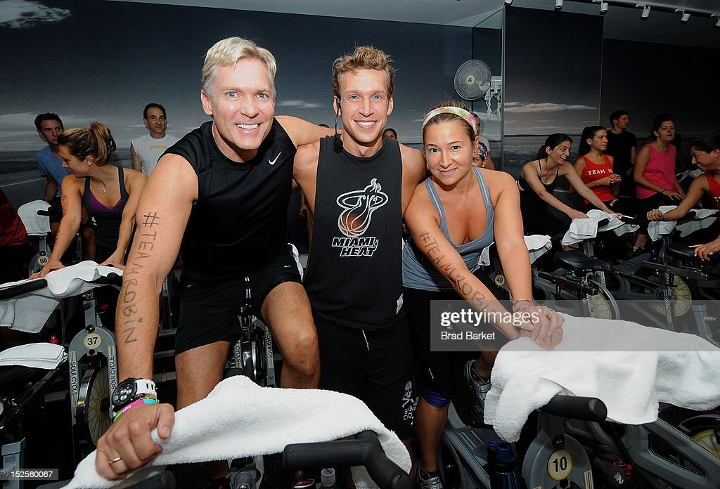 Television host Sam Champion, Nick Oram, and Robyn Cerk attend American Cancer Society & Young Friends Of The DreamBall SoulCycle Charity Ride at SoulCycle 1470 Third Ave on September 22, 2012 in New York City.