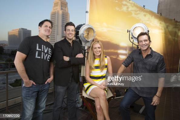 Television hosts Mark Cuban Cat Deeley Carson Daly Jeff Probst are photographed for Los Angeles Times on April 30 2013 in Los Angeles California...